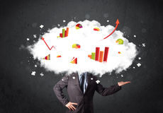 Modern business man with a graph cloud head. Concept Stock Images