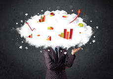Modern business man with a graph cloud head Royalty Free Stock Images