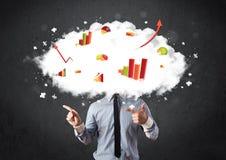 Modern business man with a graph cloud head Stock Photos