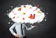 Modern business man with a graph cloud head. Concept stock image