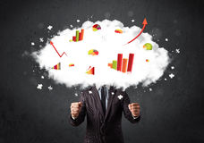Modern business man with a graph cloud head. Concept Stock Photo