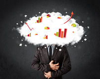 Modern business man with a graph cloud head. Concept royalty free stock photography