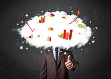 Modern business man with a graph cloud head Stock Image