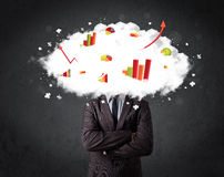 Modern business man with a graph cloud head Royalty Free Stock Photos