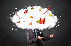 Modern business man with a graph cloud head. Concept royalty free stock images