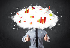 Modern business man with a graph cloud head. Concept Royalty Free Stock Image