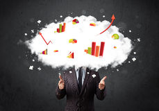 Modern business man with a graph cloud head. Concept stock photography