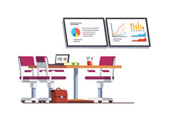 Modern business office boardroom with table. Modern business office boardroom interior design with table, chairs and presentation tv displays with graphs and Stock Image