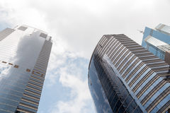 Modern business office skyscrapers at Sheung Wan Hong Kong with blue sky Stock Photos