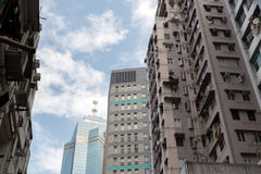 Modern business office skyscrapers at Sheung Wan Hong Kong with blue sky. Modern business office skyscrapers and residential area at Sheung Wan Hong Kong with Royalty Free Stock Photography