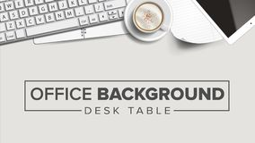 Business Workplace Background Vector. Laptop, Computer, Keyboard, Coffee Cup, Smartphone, Notebook. Corporate Creative. Modern Business Office Workplace Royalty Free Stock Photos