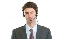 Modern business operator with headset Stock Images