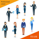 Modern business people flat lines. Conceptual illustration of a professional team. Human resources. The close-knit team with a competent leader. Businessman Stock Image