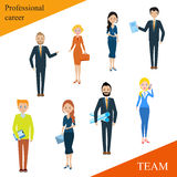 Modern business people flat lines. Conceptual illustration of a professional team. Human resources. The close-knit team with a competent leader. Businessman Royalty Free Stock Image