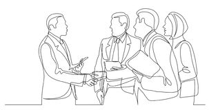 Modern business people shaking hands after succesful conversation - one line drawing royalty free illustration