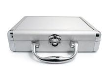 Modern business silver suitcase isolated Stock Photography