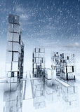 Modern business skyscraper city with snow falling Stock Photos