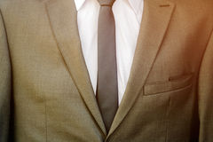 Modern business suit with white shirt and necktie Stock Photos