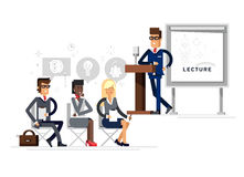 Modern business teacher giving lecture Stock Photo