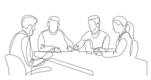 Modern business team brainstorming during meeting - one line drawing vector illustration
