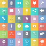 Modern business and technology flat icons set stock illustration