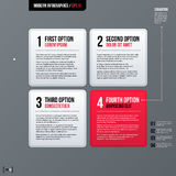 Modern business template with four square options on gray background Royalty Free Stock Images