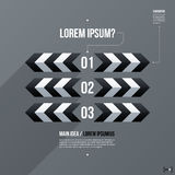 Modern business template with three numbered options on gray background Royalty Free Stock Image