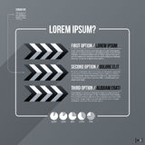 Modern business template with three text options on gray background Royalty Free Stock Photos