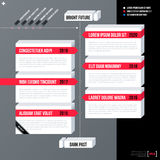 Modern business timeline template with white 3d shapes on gray background. Neutral corporate style Stock Photography