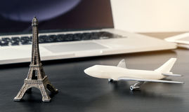 Modern Business trip online booking, Technology business travel. Stock Photo