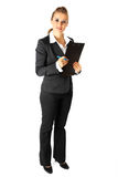Modern business woman with clipboard and pen Royalty Free Stock Photo