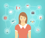 Modern Business Woman Conceptual Infographics. Modern flat conceptual illustration of ambitious young smiling business woman with icons of marketing, analytics Royalty Free Stock Photo