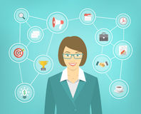 Modern Business Woman Conceptual Infographics. Modern flat conceptual illustration of ambitious young smiling business woman with icons of marketing, analytics Stock Photo