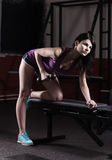 Modern business woman at a fitness lesson in a modern fitness club Royalty Free Stock Images