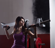 Modern business woman at a fitness lesson in a modern fitness club Stock Photos