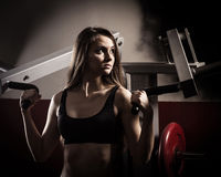 Modern business woman at a fitness lesson in a modern fitness club Royalty Free Stock Photos