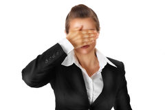 Modern business woman with hand on eyes. Isolated on white royalty free stock photo
