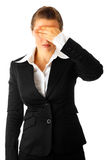 Modern business woman with hand on eyes Stock Photography