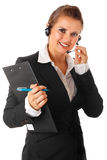 Modern business woman with headset and clipboard Royalty Free Stock Images