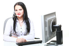 Modern business woman with headset Royalty Free Stock Image