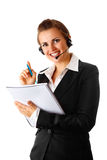 Modern business woman with headset and notebook Stock Image