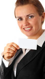 Modern business woman holding blank business card Royalty Free Stock Photography