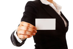 Modern business woman holding blank business card Royalty Free Stock Photos