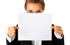 Modern business woman holding empty white paper Stock Photos