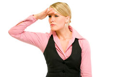 Modern business woman looking into the distance Royalty Free Stock Photography