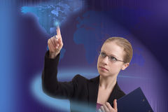 Modern business woman makes a choice. Future business solutions stock photography