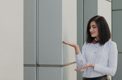 Modern business, woman near the office ponders business plan Stock Photography