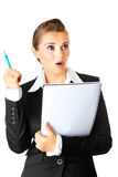 Modern business woman with notebook got idea Royalty Free Stock Images
