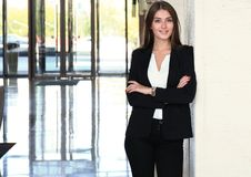 Modern business woman in the office with copy space. Royalty Free Stock Photography