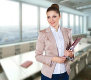 Modern business woman in the office. With copy space Royalty Free Stock Photography